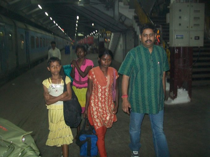 Rescued Children at the Railway Station