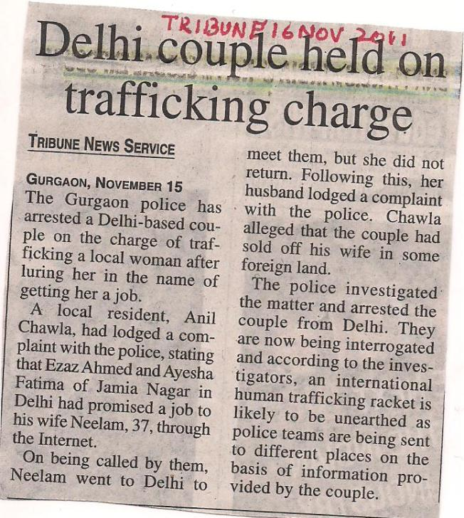 INTER STATE TRAFFICKING - DELHI COUPLE HELD FOR HUMAN TRAFFICKING