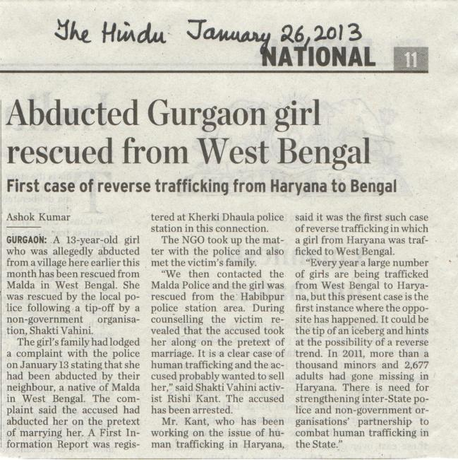 Abducted Gurgaon minor rescued from West Bengal